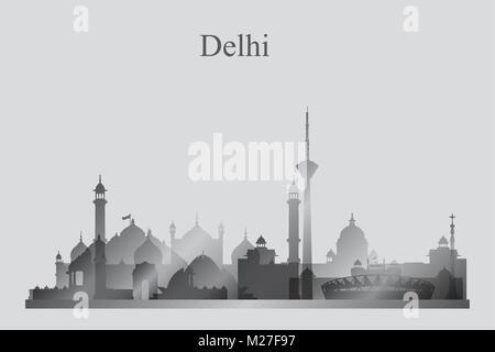 Delhi Stadt Skyline Silhouette in Graustufen, Vektor-illustration - Stockfoto