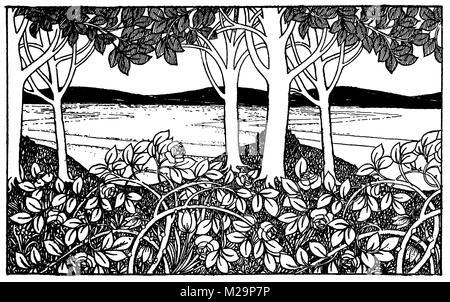 Landschaft Fries, ornamentalen Linie Illustration von Architekt und Künstler Mackay Hugh Baillie Scott von 1895 - Stockfoto