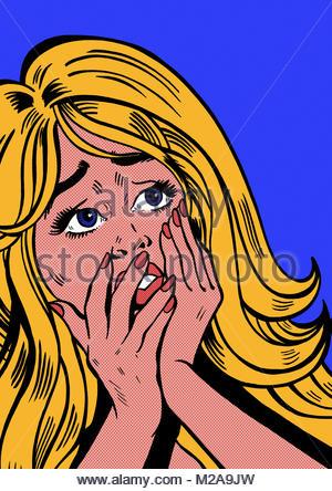 Nahaufnahme von verzweifelte Frau mit Händen auf dem Gesicht - Stockfoto
