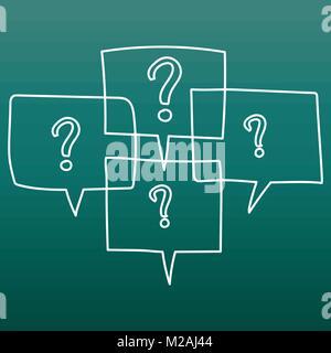 Fragezeichen in gedankenblasen. Hand line Art cartoon Vector Illustration auf grünem Hintergrund gezeichnet. - Stockfoto