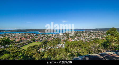 Australien, New South Wales, Central Coast, Blick auf Ettalong, Brisbane Wasser und Broken Bay von Blackwall Berg - Stockfoto