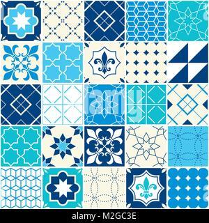 Die nahtlose Vektor blau Fliese Muster, Azulejos Fliesen, Portugiesische geometrischen und floralen Design - bunte - Stockfoto