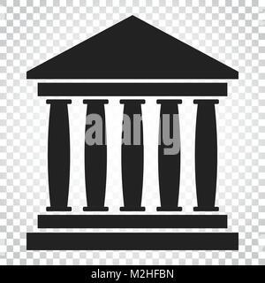 Bank Gebäude Symbol im flachen Stil. Museum Vector Illustration auf isolierte Hintergrund. Einfaches Geschäftskonzept - Stockfoto