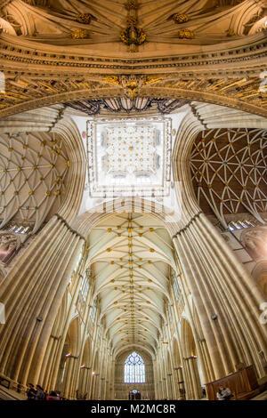 Detailansicht der Decke des York Minster Turm aus direkt unterhalb, York, Yorkshire, Vereinigtes Königreich - Stockfoto