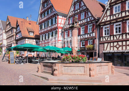 marktplatz marktbrunnen fachwerk h user bretten kraichgau landkreis karlsruhe baden. Black Bedroom Furniture Sets. Home Design Ideas