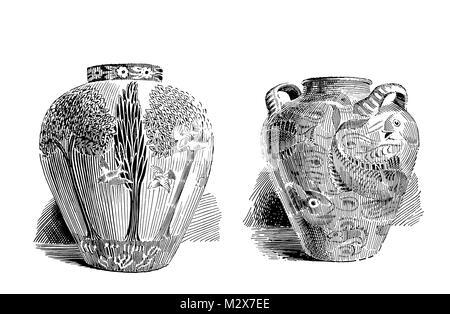 Vasen entworfen von William De Morgan von 1895 Das Studio einer illustrierten Zeitschrift für Bildende und Angewandte - Stockfoto