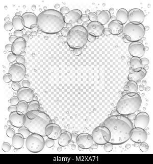 Luftblasen im Wasser Herz Rahmen transparent - Stockfoto