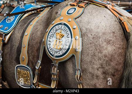 """Wunderschön eingerichtete Pferd Teams von """"hofbräu"""" Brauerei, Oktoberfest, 'Wiesn', München - Stockfoto"""