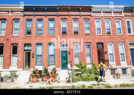 Maryland, MD, Eastern, Mid Atlantic, Baltimore, Federal Hill, historische Nachbarschaft, Stadthaus, Reihenhaus, - Stockfoto
