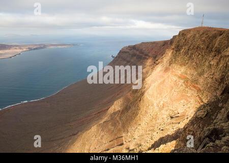 Mirador del Río, Batería del Río, Lanzarote/Spanien: Blick auf die Felsen von der Plattform des Mirador del Río - Stockfoto