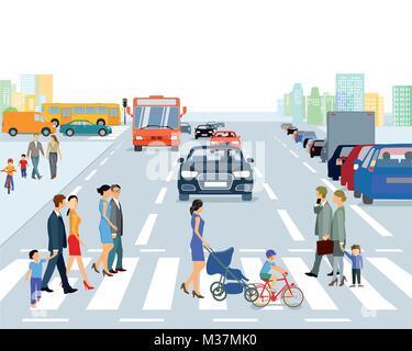 Große Stadt mit Verkehr und Fußgänger, Abbildung - Stockfoto