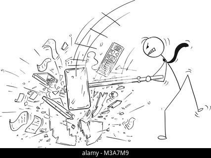 Cartoon von Angry Geschäftsmann zerstören Computer im Büro von großen Vorschlaghammer oder einem Hammer - Stockfoto