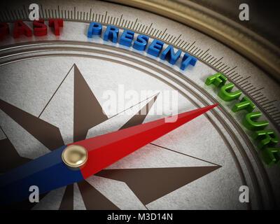 Kompass Nadel nach Zukunft zwischen Vergangenheit und Gegenwart. 3D-Darstellung. - Stockfoto