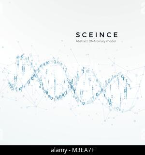Abstrakte DNA binäres Modell. Der genetische Code. Wissenschaft und futuristisches Konzept. Vector Illustration - Stockfoto