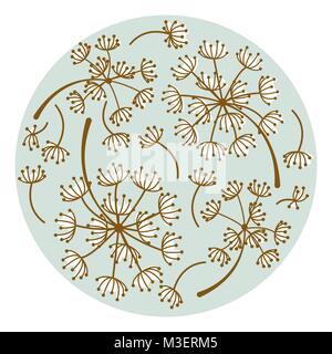 Löwenzahn Blumen runde Platte design Vector. - Stockfoto