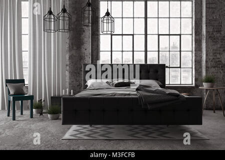Stilvolle, moderne Schlafzimmer mit Monochrom grau Dekor in einem Loft conversion mit großen Fenstern. 3D-Rendering - Stockfoto