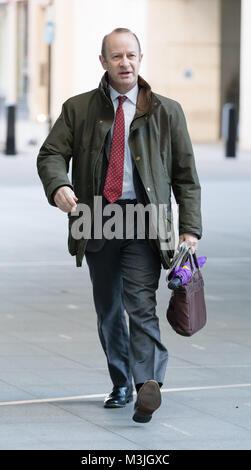 London, Großbritannien. 11. Februar 2018. Henry Bolton, UKIP Marktführer bei BBC Broadcasting House auf dem Andrew - Stockfoto