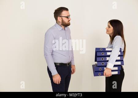 Büro, ein Mann und eine Frau Kopf - Stockfoto