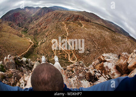 Südafrika, Western Cape, Prinz Albert, Swartberg Pass. Wanderer. - Stockfoto