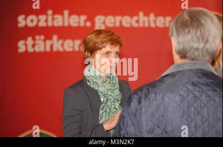 Simone Lange, Oberbürgemeisterin der Stadt Flensburg, in einer Diskussionsabend am 12.05.2014 im Restaurant Borgerforeningen, - Stockfoto