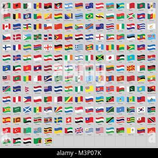Alle Nationalen Flaggen Der Welt Mit Namen Hohe Qualität Vektor