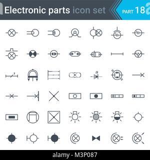 Komplette Vektor einrichten elektrischer und elektronischer ...