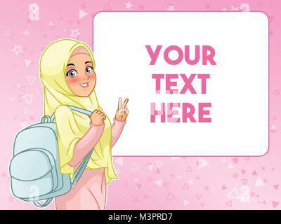 Junge muslimische Studentin fröhliche Holding Rucksack und Frieden Geste, Cartoon Character Design, gegen rosa Hintergrund, - Stockfoto