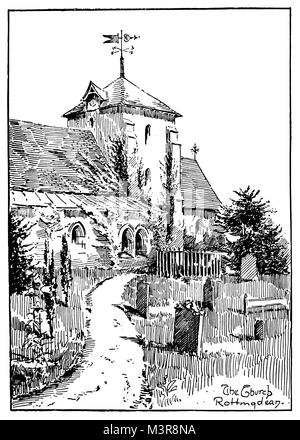 St Margaret's Church, Rottingdean, East Sussex in 1880s, veranschaulicht durch F E Tomlinson, ab 1895 das Studio - Stockfoto