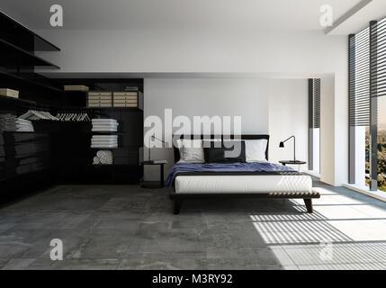 3d Renderin; Stilvolles, Modernes Schlafzimmer In Schwarz Und Grau  Gehaltene Einrichtung Mit Einem Divan Stil Doppelbett Und