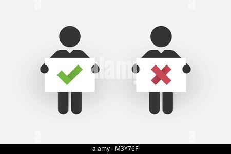 Schwarze Silhouetten von zwei Männern mit einem Zeichen richtig und falsch - Stockfoto