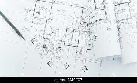 Exceptional ... Architekten Arbeitsplatz   Architekturentwürfe Mit Maßband, Schutzhelm  Und Tools Auf Tisch. Top View