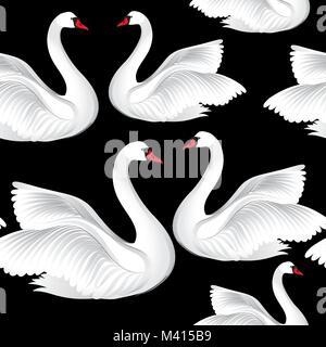Weiße Vögel nahtlose Muster. Wildlife Hintergrund. Swimmingpool Schwäne Fliese ornament - Stockfoto