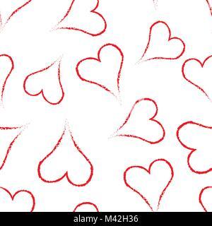 Hand Herz Symbol nahtlose Muster Hintergrund gezeichnet. Business Flat Vector Illustration. Liebe Valentinstag symbol - Stockfoto