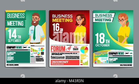 Business Meeting Poster Set Vektor. Geschäftsmann und Geschäftsfrau ...