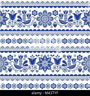 Skandinavische nahtlose Vektor Muster mit Blumen und Vögeln, Nordic Folk Art sich wiederholende navy blue Ornament - Stockfoto