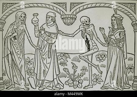 Tanz des Todes. Arzt und Liebhaber. Gedruckt von Guyot Marchant, Frankreich. 15. Jahrhundert. - Stockfoto