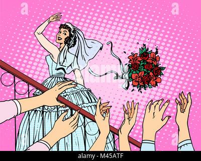 Hochzeit Braut Strauß Blumen Brautjungfer Frau