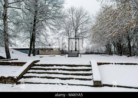 Auschwitz, weniger Polen/Polen - 04.Februar 2018: Auschwitz Birkenau, Nazi Konzentrations- und Vernichtungslager. - Stockfoto