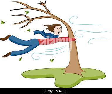 Ein Bild von einem Mann Festhalten am Baum auf windigen Tag. - Stockfoto