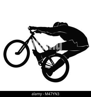 Teenager reiten ein BMX Fahrrad in blacek und Weiß - Stockfoto