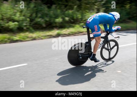 Olympischen Spiele 2012. 01/08/12. Rennradfahren. Herren Einzel Zeitfahren. Taylor Phinney, Reitschule für USA, - Stockfoto