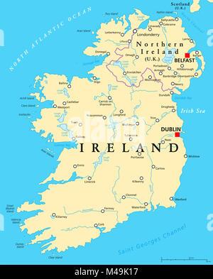 Irland Karte Städte.Irland Landkarte Mit Hauptstadt Dublin Landesgrenzen Wichtige