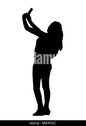 Große Frau mit einem selfie Silhouette Abbildung