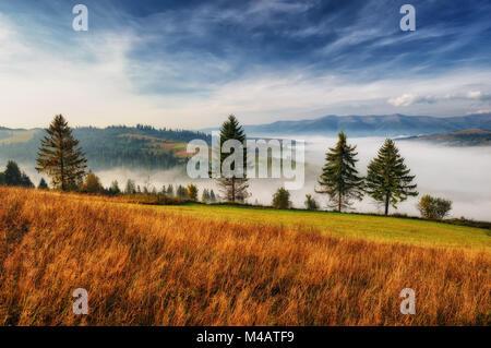 Malerische Herbstmorgen. Dawn in den Karpaten. - Stockfoto
