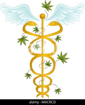 Ein Bild von einem medizinischen Marihuana Caduceus. - Stockfoto