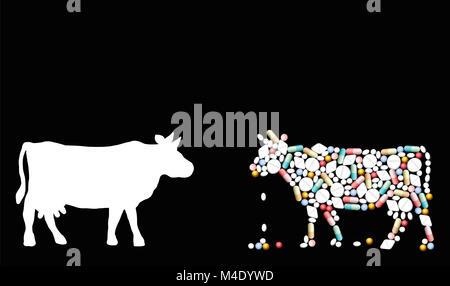 Pillen, die eine Kuh Form. Symbol für Rinder, Healthcare, Medizin, Pharmazie, Antibiotika und Ernährung - Abbildung - Stockfoto