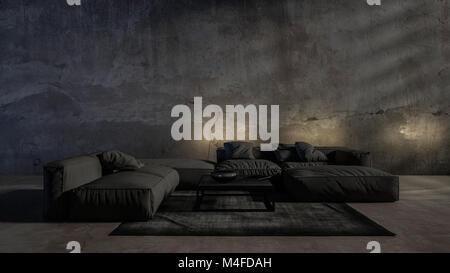 Dunklen Modernen Luxus Einfarbig Grau Wohnzimmer Einrichtung Mit