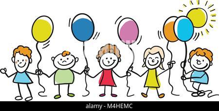 Happy Kids mit Luftballons zusammen. Handgezeichneten skizziert Doodles in schönen Outfits und Kostüme. Moderne - Stockfoto