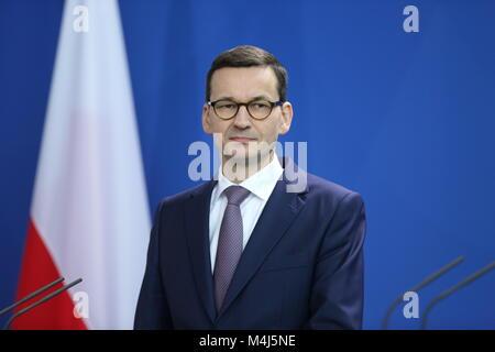 Berlin, Deutschland. 16 Feb, 2018. Berlin: Premierminister der Republik Polen, Mateusz Morawieck, im Bundeskanzleramt - Stockfoto