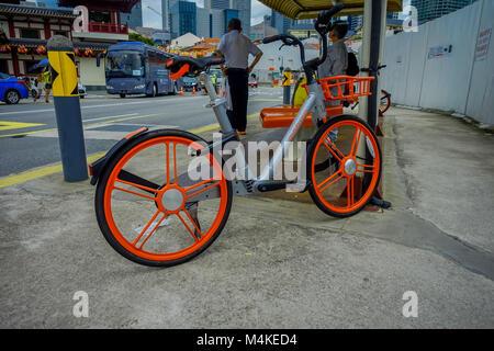Singapur, Singapur - Januar 30. 2018: Outdoor Ansicht der freigegebenen Fahrräder in Singapur. Die wichtigsten Bike - Stockfoto